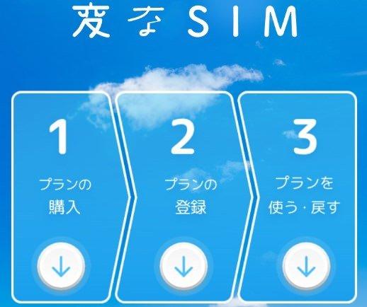 変なSIMのアプリ